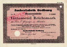 17308 / Zuckerfabrik Bedburg, Bedburg (NW) Namensaktie, Reihe B 1000 RM 12. März 1930, am 15.11.1941 heraufgesetzt auf RM 1500.-.