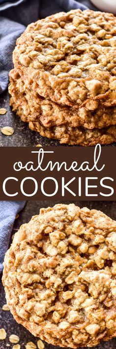 Oatmeal Cookies are a classic, and this is my family's all time FAVORITE recipe. Soft and chewy on the inside, and perfectly crispy around the edges. if there were a perfect oatmeal cookie, this would be it! Best Cookie Recipes, Vegan Recipes, Cooking Recipes, Sweet Recipes, Easy No Bake Desserts, Delicious Desserts, Light Desserts, Yummy Food, Trifle Pudding