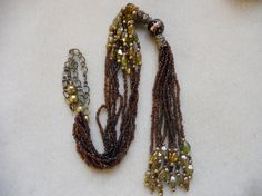 Vintage Deep Brown 10 Strand Necklace by AprilSnowJewelry on Etsy, $20.00