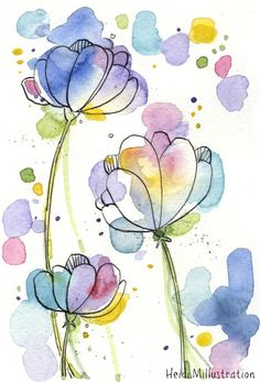 Watercolor And Ink, Watercolor Flowers, Abstract Flowers, Abstract Art, Watercolour For Kids, Abstract Flower Paintings, Art Flowers, Watercolor Illustration, Watercolor Paintings For Beginners