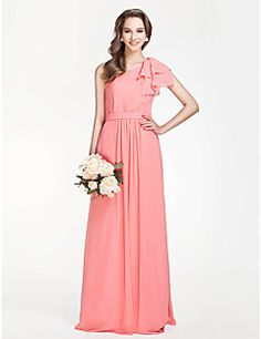 Lanting Floor-length Chiffon Bridesmaid Dress - Watermelon Plus Sizes / Petite Sheath/Column One Shoulder