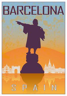 Barcelona vintage style poster van Paulrommer op Etsy