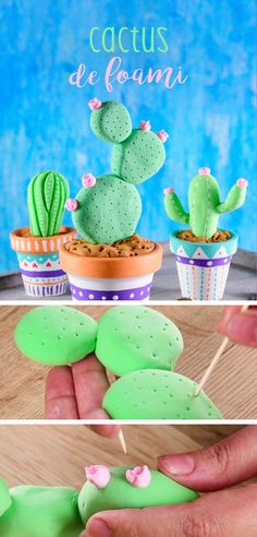 Have fun creating this fantastic craft that is very easy to do, you only need 3 materials and in a m Diy And Crafts, Crafts For Kids, Arts And Crafts, Party Fotos, Cactus Cake, 3d Quilling, Fondant Tutorial, Pasta Flexible, Dry Clay