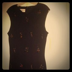 Dress Black dress with beaded design all over no sleeve, Evan-Picone. Lined with back zipper. Evan Picone Dresses