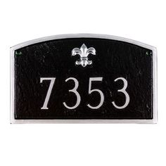 Montague Metal Products Fleur de Lis Prestige Arch Large Address Plaque Finish: Sea Blue / Silver, Mounting: Lawn