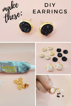 How to make druzy earrings {EASY tutorial} - how to .-Wie man Druzy Ohrringe macht {EINFACHES Tutorial} – Wie man Druzy-Ohrringe mach…, How to make druzy earrings {EASY tutorial} – How to make druzy earrings …, - Diy Jewelry Unique, Diy Jewelry To Sell, Diy Jewelry Making, Jewelry Shop, Jewelry Crafts, Beaded Jewelry, Fashion Jewelry, Gold Jewellery, Sell Diy