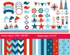 Nautical Kids sailor clipart / Red White Blue Nautical clipart / Red White Blue paper / eps / nautical clip art by JulyDigitalImages