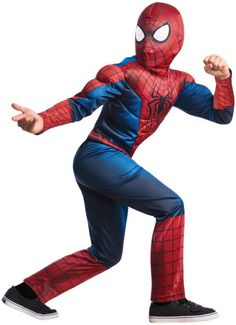 The Amazing Spider-Man 2 Kids Costume -  Fight Electro in this cool officially licensed Spider-Man costume for the Marvel movie The Amazing Spider-Man 2.  This Spider-Man costume is the classic red and blue colours. It has a poly fiber filled muscle chest with the spider on the chest. The mask is see-through.  Save Gwen Stacey with this costume. Perfect for Halloween, comic con or dress up! #spiderman #superhero #calgary #yyc #children #costume