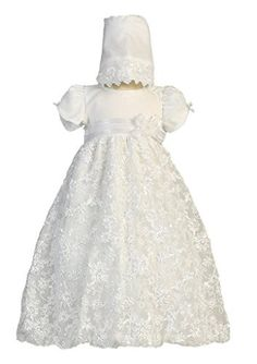 Baby Girl Embroidered Satin Ribbon Tulle Christening Dress with Bonnet, L, Amber