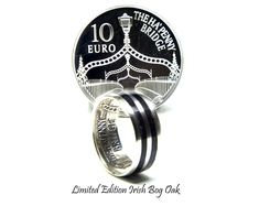 Irish silver coin ring, limited edition Irish coin ring with 5000-year-old Irish bog Oak wood