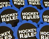 Hockey Rules Cupcake Toppers Set of 12 by CarasScrapNStampArt Party Treats, Party Gifts, Hockey Crafts, Hockey Party, Hockey Rules, Wild Blueberries, Lollipop Sticks, Party Table Decorations, How To Make Notes