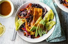 Buffalo tofu and black bean fajita bowls tesco real food. Tofu Recipes, Vegetarian Recipes Easy, Healthy Dinner Recipes, Mexican Food Recipes, Healthy Snacks, Chicken Recipes, Ethnic Recipes, Quick Recipes