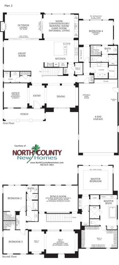 Floor Plan 3 at Southern Preserve. New homes in La Costa and Carlsbad.