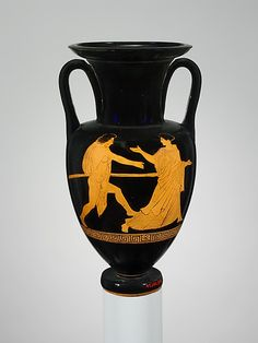 Terracotta Nolan neck-amphora (jar)  Attributed to the Phiale Painter   Period: Classical Date: ca. 440–430 B.C. Culture: Greek, Attic