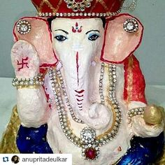 New pin for Ganpati Festival 2015 is created by by desi.gram with #Repost @anupritadeulkar with @repostapp  #MyKreations <3 <3  #EcoFriendlyGanpatiBappa  This year more people have realized that Environment Nature is no different than the Almighty. It is also a part of God.. Celebrating Eco friendly Ganesh Utsav.. I have also tried making eco-friendly Ganpati Bappa..It is not flawless still sharing some pics of my Bappa.  May Lord Ganesha bless u all with all the choicest blessings. Wishing…