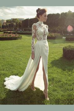 Ester Haute Couture Fall 2016 Wedding Dress with Long Sleeves Sleeves Wow.this has a type of sexy elegance which is very much my style. Wedding Dress Chiffon, 2016 Wedding Dresses, Bridal Dresses, Lace Chiffon, Prom Dresses, 2017 Wedding, High Neck Wedding Dresses, Summer Wedding, Modest Wedding