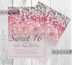 Customizable Pink Glitter Ombre Sweet sixteen 16 printable digital file, printing also available, JPEG PDF glamorous modern birthday party by TheGoldStudio on Etsy https://www.etsy.com/listing/214144253/customizable-pink-glitter-ombre-sweet