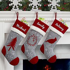 Christmas DIY: LOVE the colors and LOVE the colors and design of these personalized Christmas Stockings! The Red and Grey embroidered stockings look so beautiful together! You can choose a wreath stocking Christmas tree stocking or a cardinal stocking! Christmas Mantels, Noel Christmas, Rustic Christmas, Winter Christmas, Christmas Decorations, Christmas Ornaments, Family Christmas, Christmas Sewing, Christmas Projects