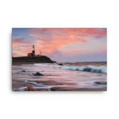 Canvas with sunset at Montauk lighthouse on Long Island New York.