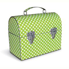 Toys in Green Polka Dot Metal Lunch Box? Baby Nursery Decor, Project Nursery, Custom Lunch Box, Vintage Lunch Boxes, Green Box, Metal Lunch Box, Cute School Supplies, Nursery Organization, Metal Crafts