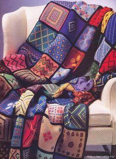 Delicadezas en crochet Gabriela: Manta artesanal con restos de hilos