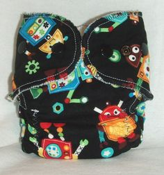Fitted Preemie Newborn Cloth Diaper- 4 to 9 pounds- Robots. $9.00, via Etsy.