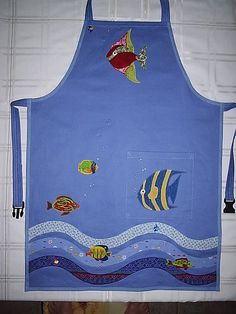 All the fish in the sea Men's Shirt Apron, Farm Kids, Childrens Aprons, Cute Aprons, Sewing Aprons, Apron Designs, Kids Apron, Kitchen Aprons, Sewing Table