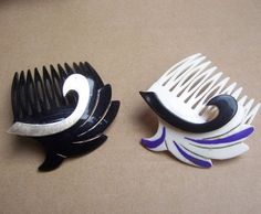 Vintage hair combs hair pin hair barrette 2 sidesweep design hair accessories 1980s on Etsy, 15,09 €