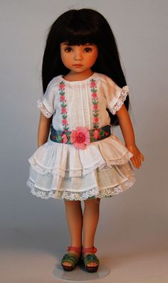 Dresse Designed by Rosemarie Ionker from Boneka  2 Piece Set  White Batiste Drop Waist Dress / Pastel Green Under Dress  with Bullion Roses and Ribbon Embroidered Sash  Price: $85