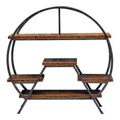 Multiple levels of floating shelves framed with hand forged iron. Shelves are finished in a rich simulated tortoise shell. Uttermost's etageres combine premium quality materials with unique high-style design. Iron Furniture, Steel Furniture, Industrial Furniture, Furniture Design, Iron Shelf, Rack Design, Wood And Metal, Contemporary Furniture, Home Accents