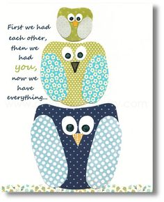 Baby nursery art - baby nursery decor - nursery wall art - Kids art - nursery owl - kids room decor - First we had each other 8x10 print
