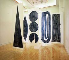 Julian Meredith: An installation of 6 woodcut prints taken from elm planks onto silk fibre paper (10' X 3') in the Customs House Arts Centre, South Shields.