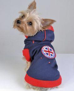 Abrigo sport para perro London azul, con piedras swarovski