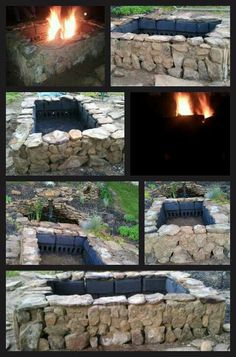 Firepit: first laid cinder blocks (laid bottom row sideways to allow for air holes). Then mixed stucco and cement coloring to get tan color. Using stucco took rocks up the outside and around the top edge of cinder blocks, leaving gaps in the rocks where possible around holes in bottom row of cinder blocks to allow for air flow. Then painted the inside with a high temp spray paint made for grills. Allow plenty of time for stucco to cure before using it.