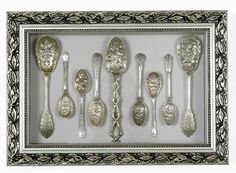 Framtiques is home to custom-made framed antique silverware.     The beautiful Downton Abbey style silverware is hand selected and imported from England.   The chosen items are then arranged in handmade frames to be displayed.