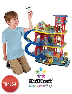 "KIDKRAFT DELUXE GARAGE: Why should girls have all the fun? Boys will love this 3-story ""car house,"" which features a car wash, elevator, and even a helipad and helicopter on the roof! Get it from Amazon »"