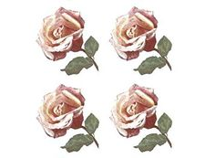 """3097 Pink Rose Anna Olivier Flower Waterslide Ceramic Decals By The Sheet (2"""" (single flower) * 16 pcs)"""