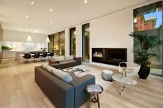 White Smoked Flooring by Royal Oak Floors (Interiors by Carr Design)… Living Room Modern, Home And Living, Living Room Designs, Living Spaces, Kitchen Living, Living Rooms, Living Area, Interior Exterior, Interior Architecture