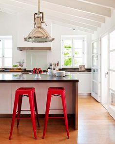 clean lines and amazing light fixture