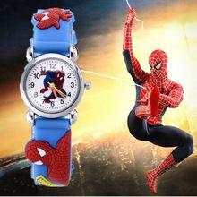 Vente chaude SpiderMan montre - bracelet enfants montres mode enfants mignons de montres de bande dessinée 3D caoutchouc montre à Quartz garçon fille horloge heure cadeau(China (Mainland))