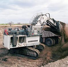 Liebherr mining excavators are known for their exceptional performance, excellent reliability, simple operation, operator comfort, and easy serviceability. Heavy Construction Equipment, Heavy Equipment, Offroad, Surface Mining, Earth Moving Equipment, Bucyrus Erie, Tonka Toys, Mining Equipment, Old Tractors