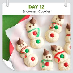 25 Days of Christmas Cheer :: Day 12 :: Snowman Cookies Recipe from Taste of Home -- shared by Betty Tabb, Mifflintown, Pennsylvania christmas desserts creative 25 Days Of Christmas, Christmas Snacks, Christmas Cooking, Christmas Goodies, Christmas Candy, Christmas 2016, Snowman Cookies, Holiday Cookies, Holiday Treats