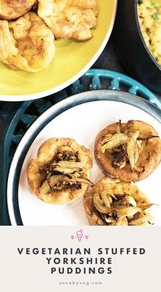 This delicious recipe for filled savoury vegetarian Yorkshire puddings is the perfect centrepiece for a veggie roast. The Yorkshire puddings are filled with pease pudding, roasted cauliflower and caramelised onions. Autumn Recipes Vegetarian, Vegetarian Meals For Kids, Going Vegetarian, Vegetarian Roast, Yorkshire Pudding Canapes, Yorkshire Pudding Filling, Pease Pudding, Hidden Vegetable Recipes, Caramelised Onions
