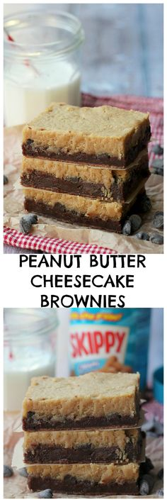 You get a double dose of delicious with these double-layered peanut butter cheesecake brownies!