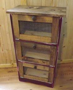 Amish Potato and Onion Bin | Rustic Country Vegetable bin Potato Bread box -Primitive cabinet ...
