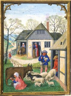 April - Driving out the sheep the cattle Costa hours ] April Vieh-Austrieb Medieval Houses, Medieval World, Medieval Art, Medieval Manuscript, Illuminated Manuscript, Renaissance, Illustrations, Illustration Art, Medieval Paintings