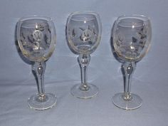 VINTAGE 1950's CRYSTAL WINE GLASSES, Etched Roses and Leaves - Set of 3