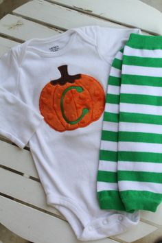 Baby Boy Outfit for Fall  pumpkin onesie by DarlingLittleBowShop, $30.00