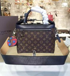 Louis Vuitton Monogram City Cruiser PM with Black Smooth Calfskin M52008.  See more LV handbags at http://www.luxtime.su/louis-vuitton-handbags