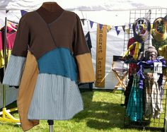 The Wood Duck Tunic - upcycled asymmetric brown teal and striped - by Secret Lentil Clothing